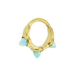 Piercing de oreja Acero quirúrgico Revestimiento PVD (color oro) Ópalo sintético Gota Forma_de_gota Gota_de_agua