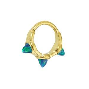 Ohrpiercing Chirurgenstahl 316L PVD Beschichtung (goldfarbig) Synthetischer Opal Tropfen Tropfenform Wassertropfen