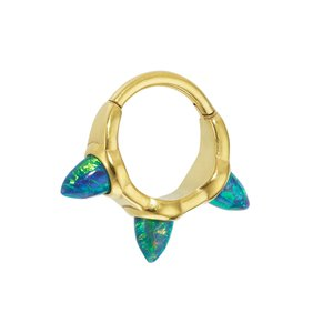 Ear piercing Surgical Steel 316L PVD-coating (gold color) Synthetic opal Drop drop-shape waterdrop