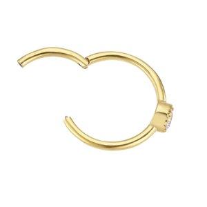 oorpiercing Chirurgisch staal 316L PVD laag (goudkleurig) Zirkonia