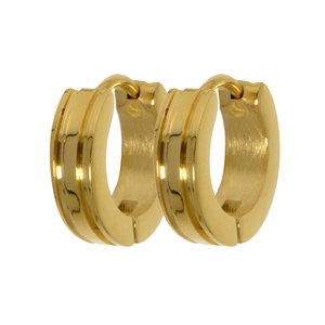 Hoops Stainless Steel Gold-plated Stripes Grooves Rills