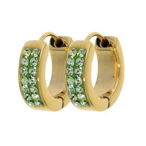 Aros anchos Acero fino Revestimiento PVD (color oro) cristales de Swarovski