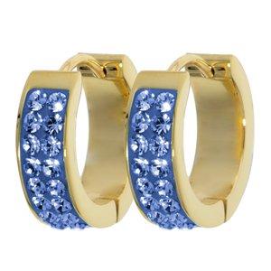 Orecchini a cerchio larghi Acciaio inox Rivestimento PVD (colore oro) Cristallo Swarovski Resina epossidica