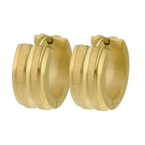 Hoops Stainless Steel PVD-coating (gold color) Stripes Grooves Rills