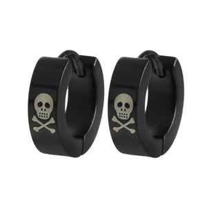 Earrings Stainless Steel Black PVD-coating Skull Skeleton