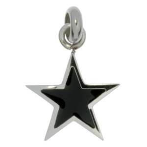 Stainless steel pendant Stainless Steel Black PVD-coating Star