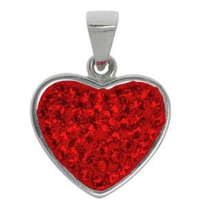 Edelstahl-Anhänger Edelstahl Kristall Herz Liebe
