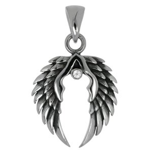 Stainless steel pendant Stainless Steel Crystal Wings