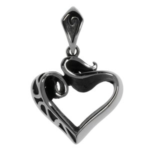 Stainless steel pendant Stainless Steel Heart Love Love Affection Tribal_pattern