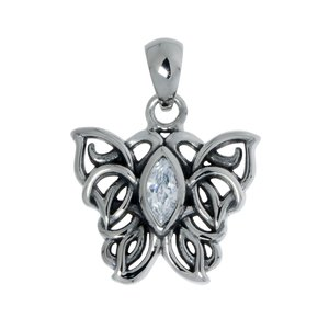 Stainless steel pendant Stainless Steel Crystal Tribal_pattern Butterfly