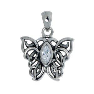 Colgante de acero inoxidable Acero fino Cristal Dibujo_Tribal Diseño_Tribal Mariposa