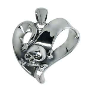 Stainless steel pendant Stainless Steel Heart Love Skull Skeleton