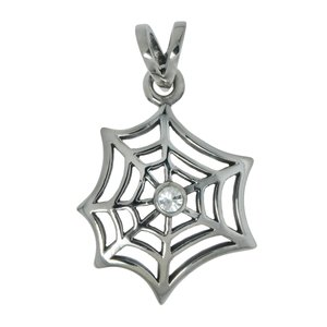Stainless steel pendant Stainless Steel Crystal Spider Spider_web