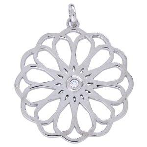 Edelstahl-Anhänger Edelstahl Zirkonia Blume