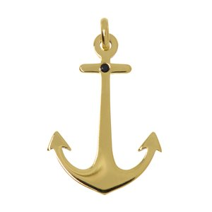Stainless steel pendant Stainless Steel zirconia Gold-plated Anchor