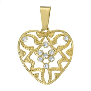 Stainless steel pendant Stainless Steel Crystal PVD-coating (gold color) Heart Love Tribal_pattern