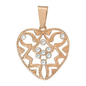 Colgante de acero inoxidable Acero fino Cristal Revestimiento PVD (color oro) Corazón Amor Dibujo_Tribal Diseño_Tribal