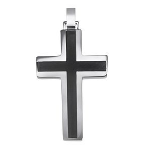 Stainless steel pendant Stainless Steel Black PVD-coating Cross