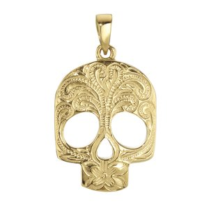 Edelstahl-Anhänger Edelstahl Gold-Beschichtung (vergoldet) Totenkopf Schädel Knochen Blatt Pflanzenmuster Florales_Muster