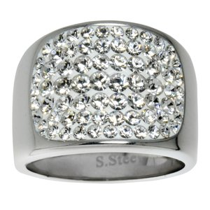 Stainless steel ring Stainless Steel Swarovski crystal
