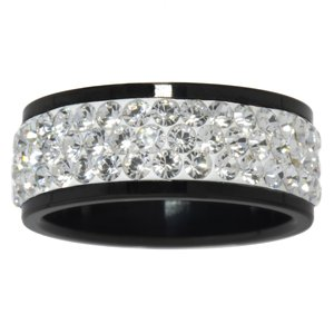 Stainless steel ring Stainless Steel Black PVD-coating Swarovski crystal