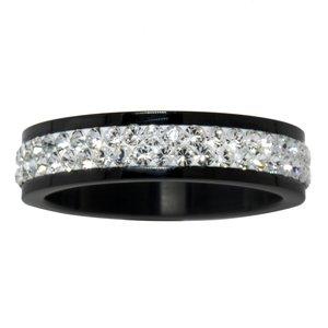 Anello acciaio Acciaio inox Rivestimento PVD (nero) Cristallo Swarovski