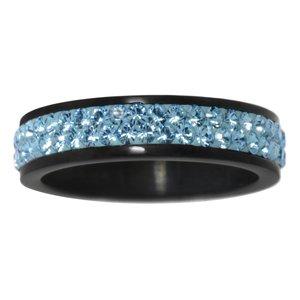 Edelstahlring Edelstahl PVD Beschichtung (schwarz) Swarovski Kristall Streifen Rillen Linien
