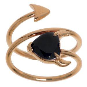 Anillo Acero fino Revestimiento PVD (color oro) Cristal Corazón_diablo Corazón_con_cuernos Espiral