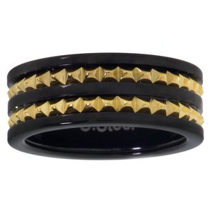 stalen ring Staal PVD laag (zwart) Goud-laagje (verguld) streep lijn ribbels