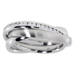 Stainless steel ring Stainless Steel Crystal Eternal Loop Eternity