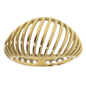 Fingerring Stainless Steel Gold-plated Stripes Grooves Rills