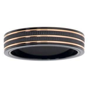 Stainless steel ring Stainless Steel Black PVD-coating Gold-plated Stripes Grooves Rills