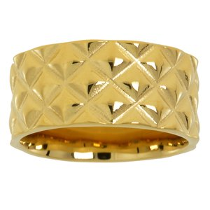 Stainless steel ring Stainless Steel Gold-plated Plaid Checked Stripes Grooves Rills