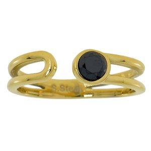 Bague acier Acier inoxydable Revêtement d´or (doré) Zirconia