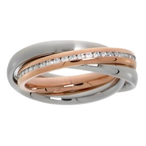 Stainless steel ring Stainless Steel Gold-plated Crystal Eternal Loop Eternity