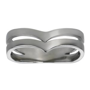 Fingerring Stainless Steel Stripes Grooves Rills Wave