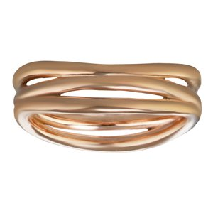 Fingerring Stainless Steel PVD-coating (gold color) Stripes Grooves Rills