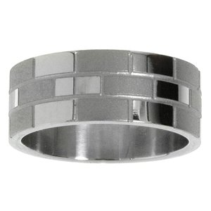 Stainless steel ring Stainless Steel Stripes Grooves Rills Plaid Checked