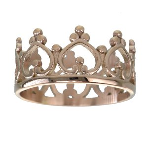 Fingerring Stainless Steel PVD-coating (gold color) Crown Heart Love