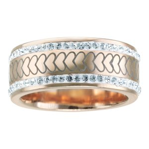 Stainless steel ring Stainless Steel PVD-coating (gold color) Crystal Heart Love Stripes Grooves Rills