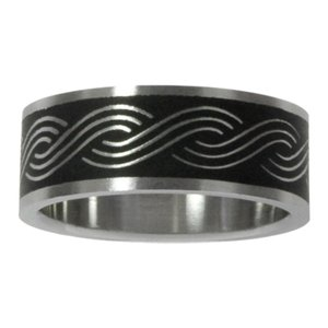 Stainless steel ring Stainless Steel Black PVD-coating Wave