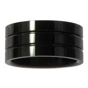 Edelstahlring Edelstahl PVD Beschichtung (schwarz) Streifen Rillen Linien