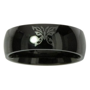 Stainless steel ring Stainless Steel Black PVD-coating Butterfly