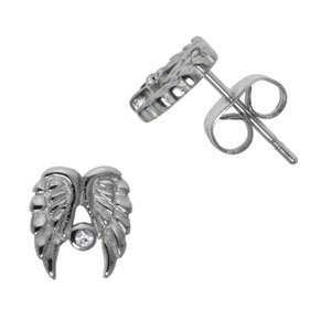 Earrings Stainless Steel Surgical Steel 316L Crystal Wings