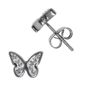 Earrings Stainless Steel Surgical Steel 316L Crystal Butterfly