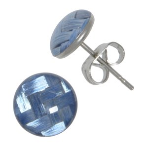 Earrings Stainless Steel Surgical Steel 316L carbon fibre Epoxy Stripes Grooves Rills Plaid Checked