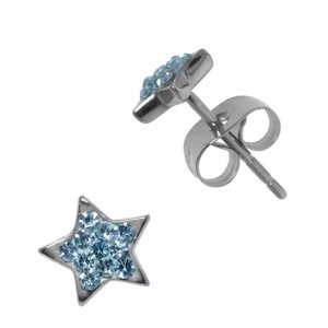 Earrings Stainless Steel Surgical Steel 316L Crystal Star