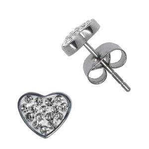 Orecchini Acciaio inox Metallo chirurgico 316L Cristallo Cuore Amore