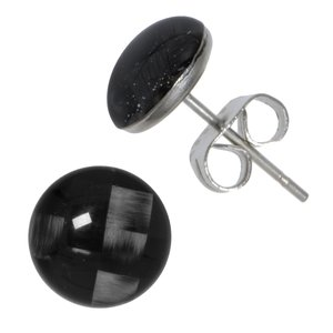 Earrings Stainless Steel carbon fibre Epoxy Stripes Grooves Rills Plaid Checked