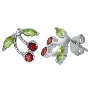 Earrings Stainless Steel zirconia Cherry